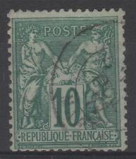 "FRANCE STAMP TIMBRE N° 76 "" SAGE 10c VERT TYPE II 1876 "" OBLITERE TTB  N603"