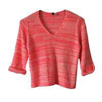 H&M Divided Womens L Large Sweater Chunky Knit Marled Neon Pink White Cuffed
