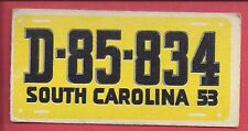 1953 TOPPS License Plate Trading Cards # 46 SOUTH CAROLINA