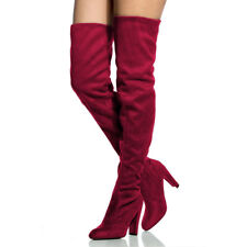 UK WOMEN THIGH HIGH BOOTS OVER THE KNEE PARTY STRETCH BLOCK HIGH HEEL ZIP SHOES