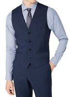 Hugo Boss Mens Suit Vest Blue Size 44 Long Wool Plaid Extra Slim Fit $158 116