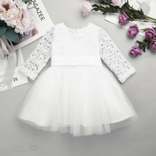 Kids Baby Flower Girl Dress Princess Wedding Birthday Pageant Long Sleeves Dress