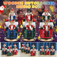 Large Wooden Guard Nutcracker 4 Soldier Toys Music Box Xmas Christmas Gift