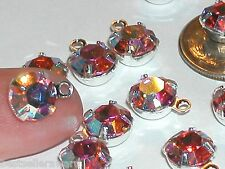 5pc Lot Swarovski Pink Rose AB crystal hoop bail dangle Pendant charm 35ss 8mm