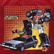 Transformers Time Traveller Marty McPrime TShirt Medium Red All Cotton Alstyle