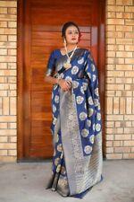 New Indian Party Wear Banarasi Silk Saree Sari Woven Work Saree Blouse SL
