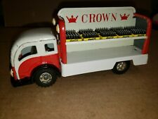 "Vintage tin toy friction 7"" Crown truck w/coke cases. working condition clean."