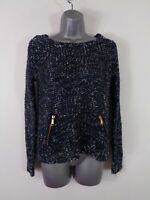 WOMENS TOPSHOP NAVY BLUE MARL LONG SLEEVED CASUAL WINTER PULL OVER JUMPER UK 8