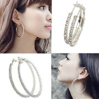 Sale Women Silver Plated Diamante Crystal Rhinestone Hoop Round Earring Jewelry