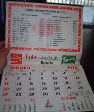 Bel vecchio Coca-Cola Calendario 1978 / 79 USA Coca Cola add life to Sports