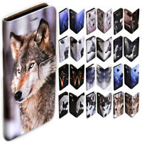 For Apple iPhone Series Wolf Wolves Theme Print Wallet Mobile Phone Case Cover