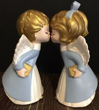 "VIntage 2pc Hand Painted Ceramic Kissing Angels  7.75"" Christmas Figurines"