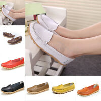 Fashion Womens Ladies Soft Leather Work Casual Ballet Slip On Loafer Flat Shoes