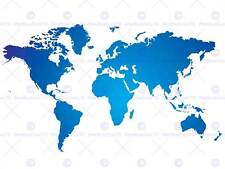 WORLD MAP BLUE WHITE PHOTO ART PRINT POSTER PICTURE BMP1563A