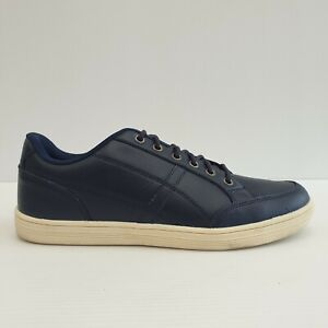 Seven Steps Mens Casual Leather Lace Up Shoes Navy Size 10 SE142 64493