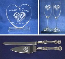Corpse Bride Glasses knife server cake topper set engraved personalized