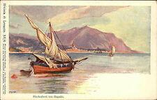 Rapallo Ligurien Italien Color AK um 1900 Fischerboot von Rapallo ungelaufen