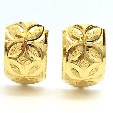 18K Yellow Gold Diamond Cut Clip Earring 2.9 Grams