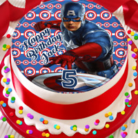 AGE STARS cake topper Marvel Legends Captain America themed edible SHIELD NAME