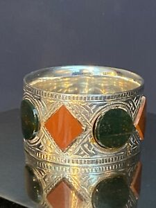 SOLID SILVER NAPKIN RING INSET WITH SCOTTISH PEBBLES/AGATE B'HAM 1898