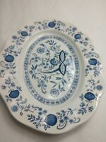 "Enoch Wedgwood Tunstall, LTD BLUE ONION 12"" Oval Platter Made in England"