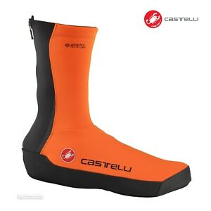 Castelli INTENSO UL Windproof Winter Cycling Shoe Covers : ORANGE One Pair