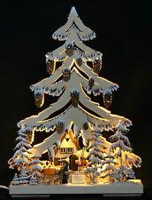 3D-Schwibbogen LED Tanne Tannenbaum Waldmotiv Rehe geschnitzt 44x32cm Erzgebirge