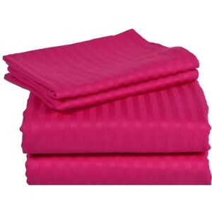 (UK Single) 4 PC Bed Sheet Set Egyptian Cotton 1000 Thread Count Hot Pink stripe