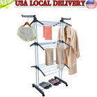 3 Tier iron Laundry Organizer Folding Drying Rack Clothes Dryer Hanger Stand NEW