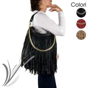 Borsa con frange da donna ragazza a spalla tracolla catena oro nera etnica moda