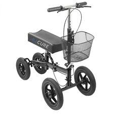 AllCure All Terrain Foldable Medical Knee Walker Scooter Roller, Black