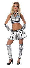 Sexy Astronaut Lady Costume Shiny Silver LIFT OFF Space Suit Adult XS 0 2 D19018
