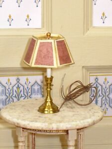 Clare Bell Brass Table Lamp with Richardson Shade - Artisan Dollhouse Miniature
