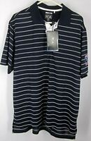ADIDAS CLIMACOOL NWT MEN'S (L) Polo/Rugby/Golf Shirt Short-Sleeve Stripe Black