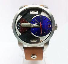 DIESEL- Men's DZ7308 Mini Daddy Dual Time Display Tan Leather Watch - 46mm