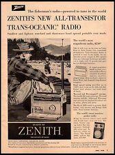 1958 Zenith Transistor Trans Oceanic Radio Fly Fishing Vintage Print Ad