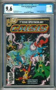 """Crisis on Infinite Earths #1 (1985) CGC 9.6  White Pages Perez   """"Blue Beetle"""""""