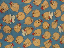 "Vintage Porky Pig Fabric 1993 Warner Brothers Blue Red White 47"" X 44"" OOP Retro"