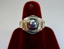925 ST. SILVER RING WITH 8 MM BLACK PEARL, Size T 1/2