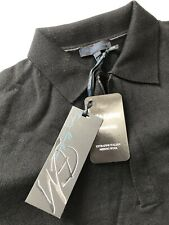 NWT Enzo Mantovani Men's 1/4 Zip 100% Wool Pullover Sweater Black Size Small