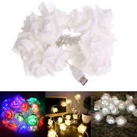 20 LED String Lights USB Foam Roses Flower LED Fairy Light Christmas Party Decor