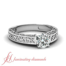 3/4 Carat Round Cut Solitaire Contemporary Womens Diamond Rings GIA Certified