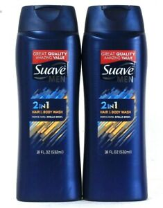 2 Bottles Suave Men 18 Oz 2 In 1 Hair & Body Wash Works Hard Smells Great