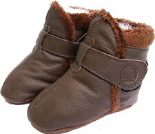 carozoo booties brown 6-12m soft sole leather baby shoes