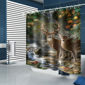 White-lipped Deer Shower Curtain Bathroom Rug Set Bath Mat Toilet Lid Cover