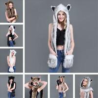 Women Men Fluffy Plush Animal Wolf Leopard Hood Scarf Hat w/ Paws Mittens Gloves