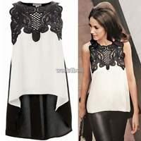 UK Womens Chiffon Sleeveless T-Shirt Casual Lace Vest Blouse Loose Ladies Tops