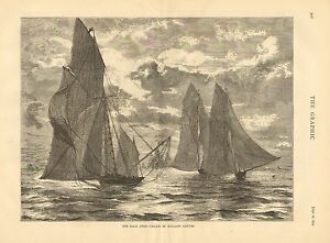 Sailboat Racing, Race Over, Taking In Balloon Canvas, Vintage 1874 Antique Print