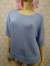 Chicos Blue Glitter Sparkle Sweater Sz 2 Womens Party Holiday Career 3/4 Sleeve