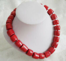 """Lovely! Tibet Red Coral Silver Necklace large beads 18"""""""